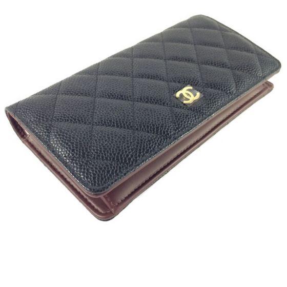 Chanel A31509 Black Caviar Leather Quilted Yen Long Wallet Original coco chanel geldbörse portemonnaie wallet purse beige natural leder. chanel a31509 black caviar leather quilted yen long wallet