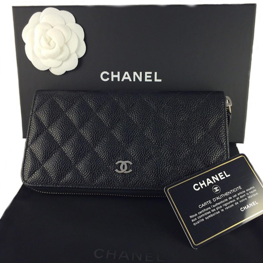 5f58879436c024 CHANEL A50097 BLACK CAIVAR LEATHER QUILTED ZIP AROUND LONG WALLET ...