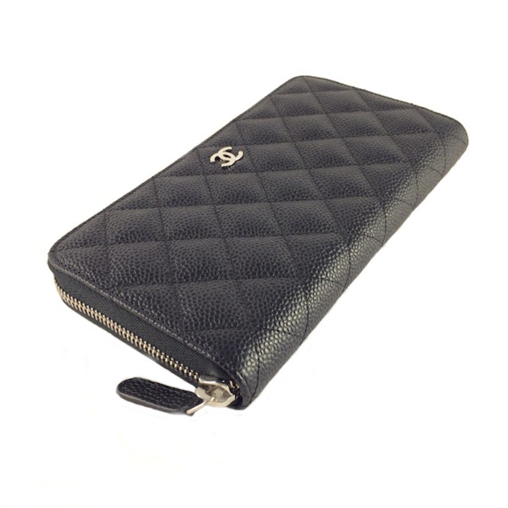 336de434c641 CHANEL A50097 BLACK CAIVAR LEATHER QUILTED ZIP AROUND LONG WALLET ...