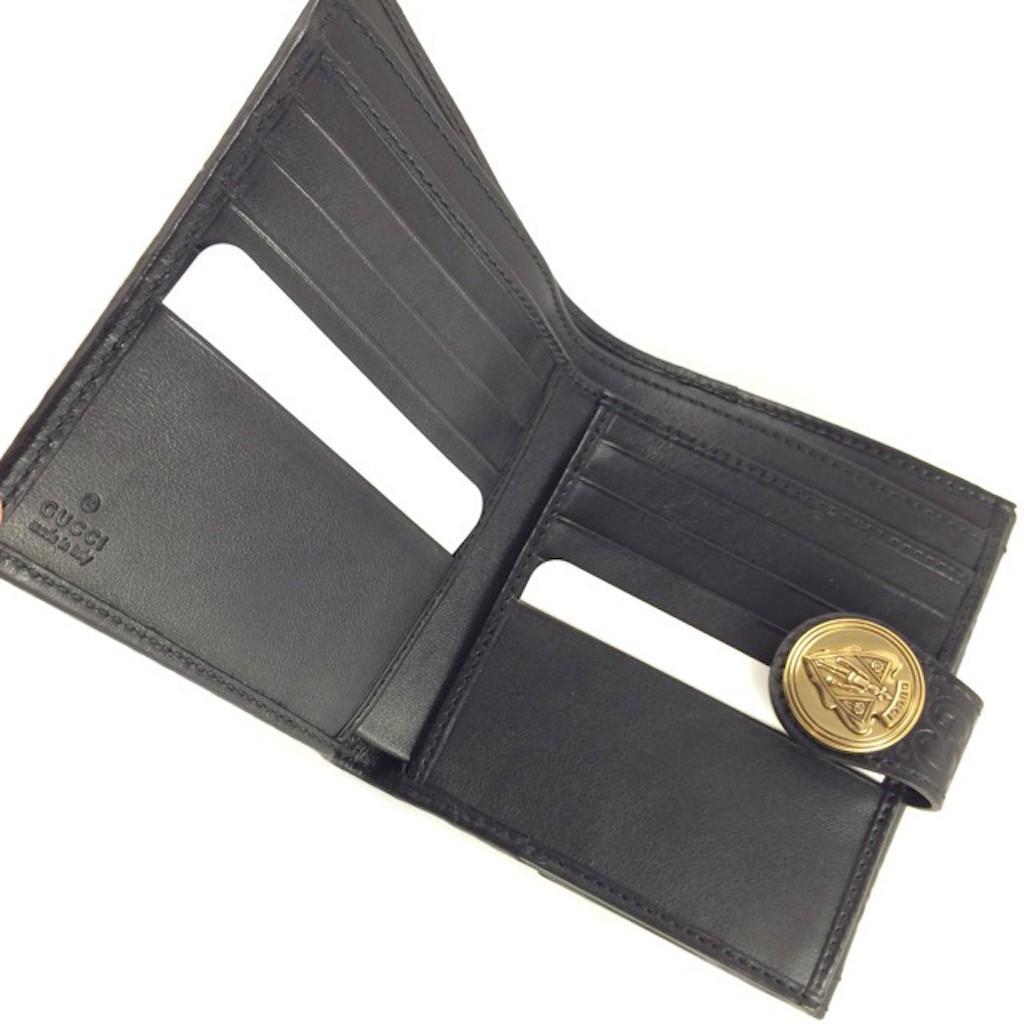 dcfa07975a1 GUCCI 190349-AA61G-1000 BLACK GOAT LEATHER CLASSIC GG LADY SHORT ...