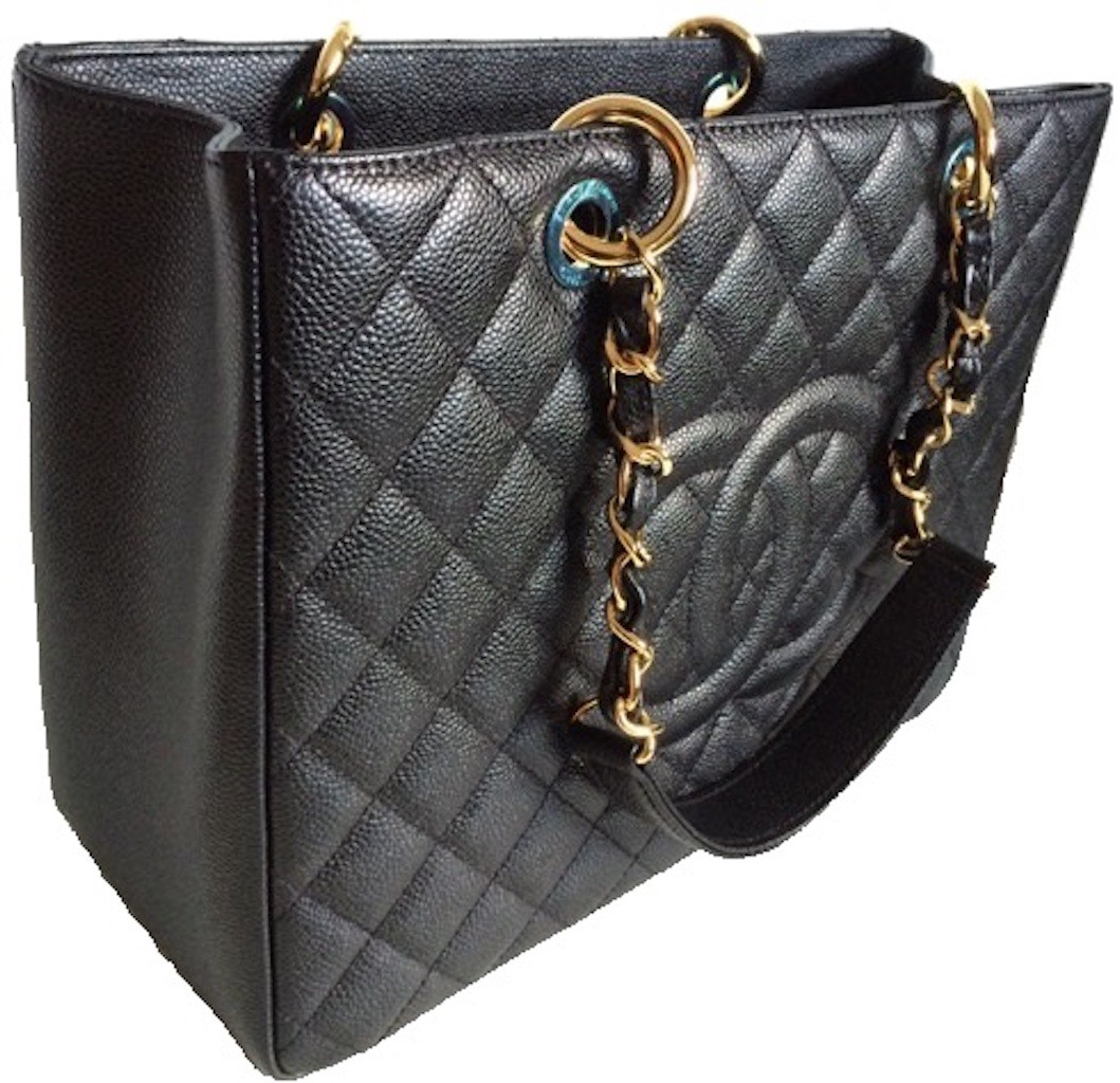 1efd0e2cb1e2 CHANEL A50995 BLACK CAVIAR LEATHER QUILTED TOTE BAG - Handbags - Ladies