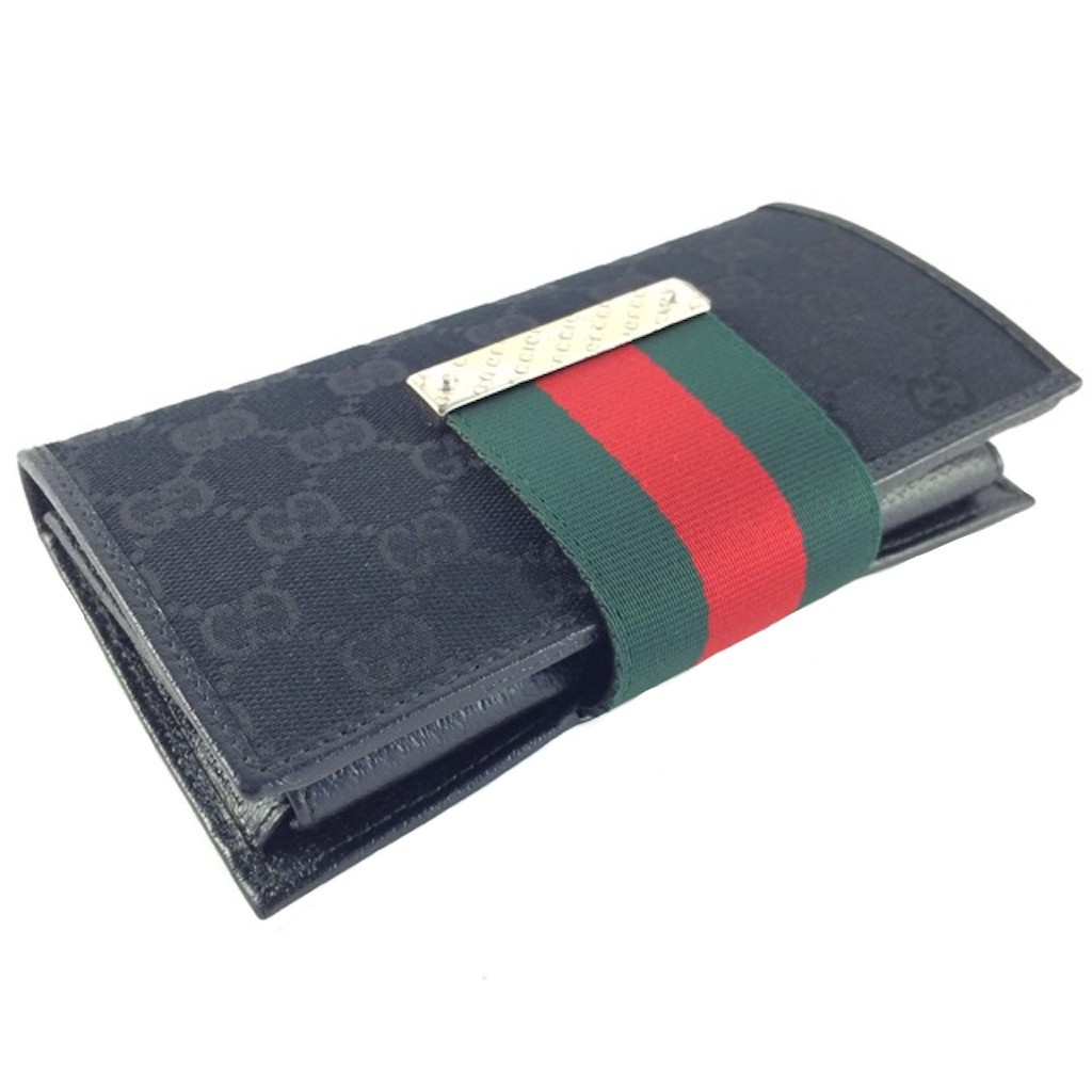 5ccb0f16f637b3 GUCCI 181668-F4F0G-1060 BLACK CLASSIC GG LONG WALLET - Wallets ...