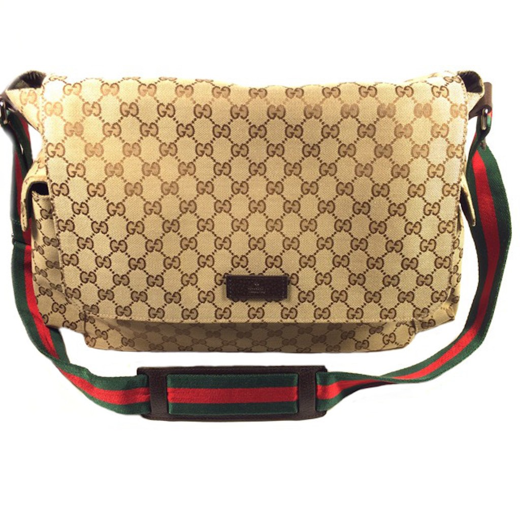 2a450045a6c7 GUCCI 201761-F4F0R-9791 BROWN CLASSIC GG FABRIC LARGE MESSENGER BAG
