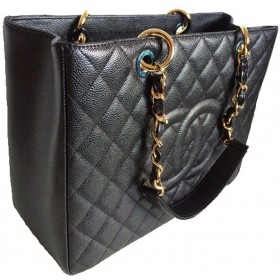 b4ef81799 CHANEL A50995 BLACK CAVIAR LEATHER QUILTED TOTE BAG