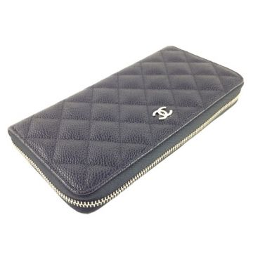 CHANEL A50097 BLACK CLASSIC CAVIAR LEATHER LONG ROUND ZIPPY WALLET