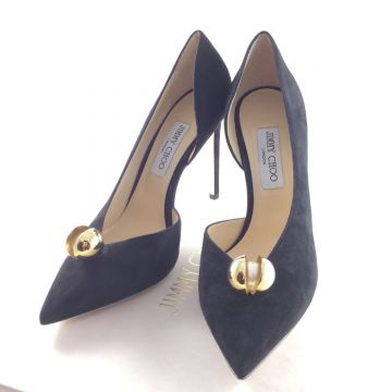 JIMMY CHOO SADIRA 100 SUEDE PUMPS BLACK 39.5 EU 6.5 UK 10CM HEEL