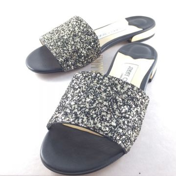 JIMMY CHOO JONI GLITTER SLIDES BLACK/GOLD MIX EU 39.5 UK 6.5