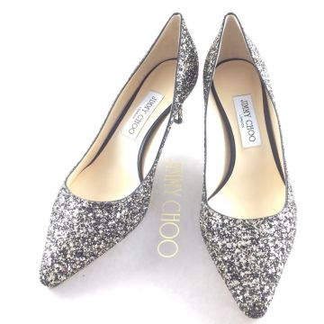 JIMMY CHOO ROMY 60 GLITTER PUMPS GOLD MIX BLACK 39 EU 6 UK