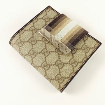 GUCCI 181669-FC1XG-8583 BROWN CLASSIC GG LADY SHORT COIN WALLET