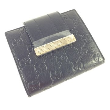 GUCCI 181669-BEG1G-1000 CLASSIC GG GOAT LEATHER BLACK SHORT COIN WALLET