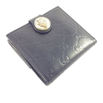 GUCCI 190349-AA61G-1000 BLACK GOAT LEATHER CLASSIC GG LADY SHORT WALLET