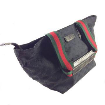 GUCCI 131230-F4F5R-1060 BLACK CLASSIC GG LADY MEDIUM SHOPPER BAG