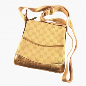 GUCCI 147671-FTARG-9699 GOLDEN BROWN CLASSIC GG SMALL MESSENGER BAG