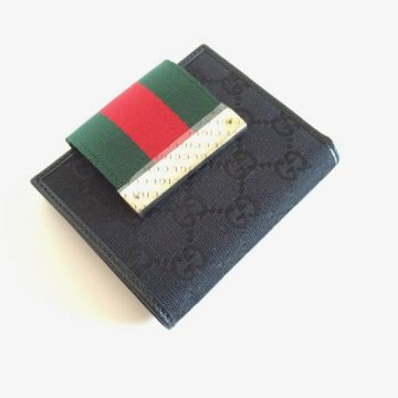 GUCCI 181670-F4F0G-1060 BLACK CLASSIC GG SHORT LADY WALLET