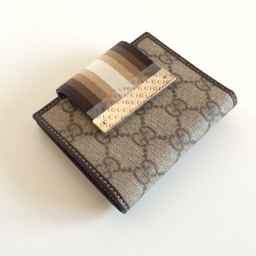 GUCCI 181670-FCIXG-8583 BROWN CLASSIC GG SHORT LADY WALLET