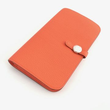 HERMES DUO H043070CK 8V TOGO LEATHER ORANGE POPPY COLOUR WALLET YEAR 2017