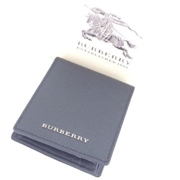 BURBERRY 3861182 BLACK BI-FOLD CALF LEATHER MEN'S COIN WALLET