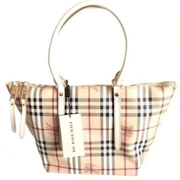 BURBERRY 3882551 CLASSIC BEIGE HAYMARKET CHECK SMALL TOTE BAG