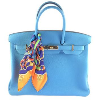 HERMES BIRKIN 35 TOGO LEATHER TURQUOISE GOLDEN HARDWARE R MARK