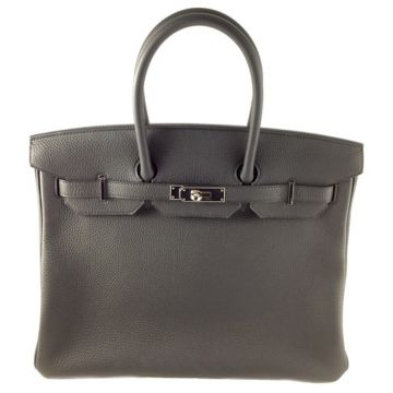 HERMES BIRKIN 35 BLACK VEAU TOGO LEATHER PALLADIUM HARDWARE T STAMP