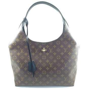 LOUIS VUITTON M43545 FLOWER HOBO BLACK MONOGRAM CANVAS SHOULDER HANDBAG
