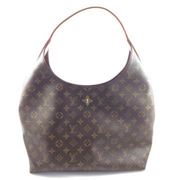 LOUIS VUITTON M43546 FLOWER HOBO BEIGE MONOGRAM CANVAS SHOULDER HANDBAG