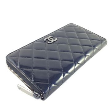 CHANEL A50106 BLACK PATENT LEATHER ROUND ZIPPY WALLET