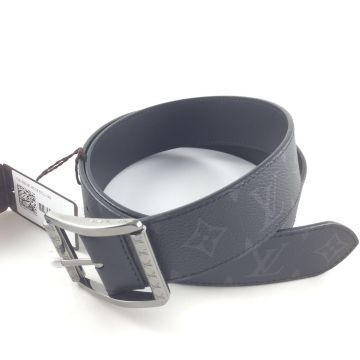 LOUIS VUITTON M9044U REVERSO MONOGRAM ECLIPSE 40MM WIDTH 90CM LONG BELT WITH RUTHENIUM BUCKLE