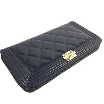 CHANEL A80288 BLACK PATENT BOY LONG ROUND ZIPPY WALLET