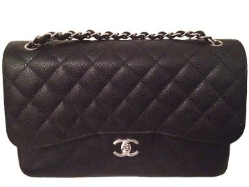 CHANEL A58600 CLASSIC BLACK CAVIAR LEATHER JUMBO HANDBAG